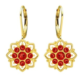 Lucia Costin Yellow Goldplated Sterling Silver Red Crystal Earrings