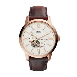 Fossil Men's ME3105 Townsman Automatic White Dial Brown Leather Watch