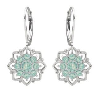 Lucia Costin Sterling Silver Mint Blue Crystal Flower Earrings