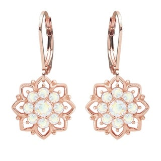 Lucia Costin Rose Goldplated Sterling Silver White Crystal Fancy Dot Earrings