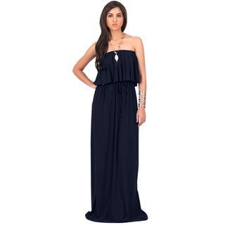 KOH KOH Womens Strapless Summer Ruffled Maxi Dress
