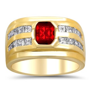 14k Yellow Gold 1 1/6ct TDW Diamond and Red Spinel Ring (E-F, VS1-VS2)