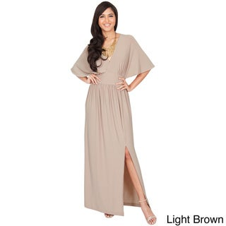 Koh Koh Women's V-Neck Batwing Sleeve Maxi Dress