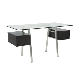 Collette Desk - Brushed Stainless Steel/Wenge Drawers