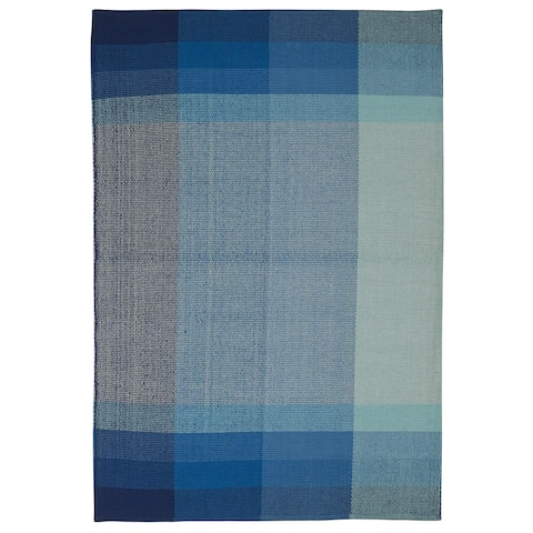 Handmade Indo Bliss Blue Cotton Rug (India) - 4' x 6'/Surplus