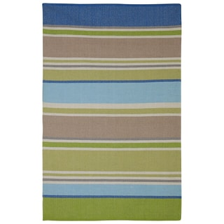 Handmade Indo Hope Blue and Green Multicolored Cotton Rug (4' x 6')