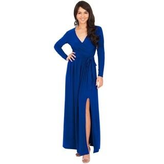 Koh Koh Women's Long-Sleeve V-Neck Slit Maxi Dress