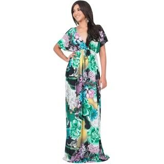 Koh Koh Women's Kimono Sleeve Bright Floral Print V-Neck Maxi Dress