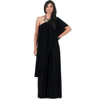 Koh Koh Women's One Shoulder Ruffle Maxi Dress