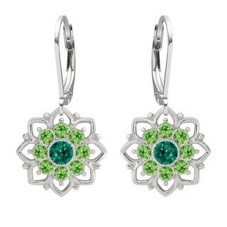 Lucia Costin Sterling Silver Dark Green/ Light Green Crystal Earrings