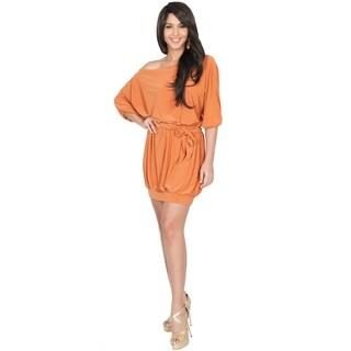 Koh Koh Women's One Shoulder 3/4-Length Sleeve Cocktail Mini Dress