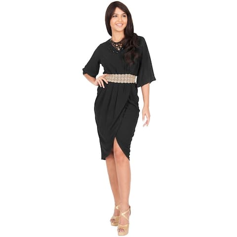 Koh Koh Womens Flutter Sleeve V-Neck Lace Embellished Mini Dress