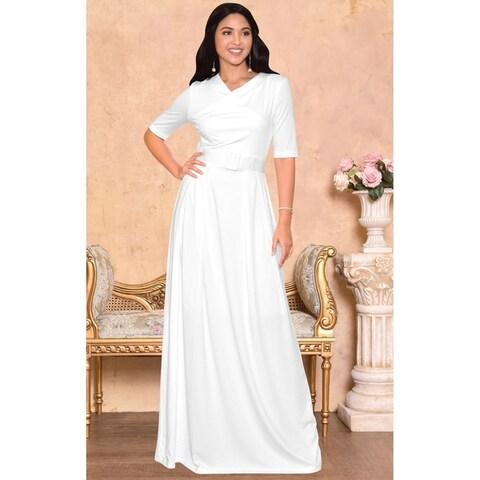 KOH KOH Womens Half-Sleeve Elegant Maxi Dress