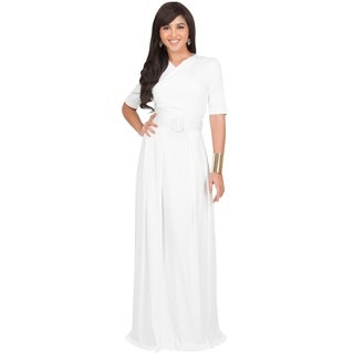 KOH KOH Womens Half-Sleeve Elegant Maxi Dress