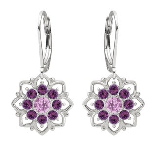 Lucia Costin Sterling Silver Lilac/ Violet Crystal Cute Dot Earrings