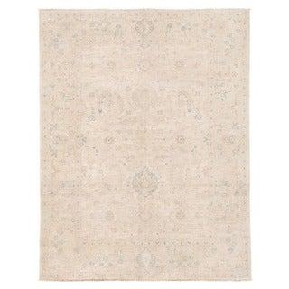 Herat Oriental Afghan Hand-knotted Vegetable Dye Oushak Ivory/ Beige Wool Rug (5' x 6'7)