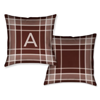 Laural Home Plaid Burgundy Monogram Decorative Throw Pillow (18 inches x 18 inches)