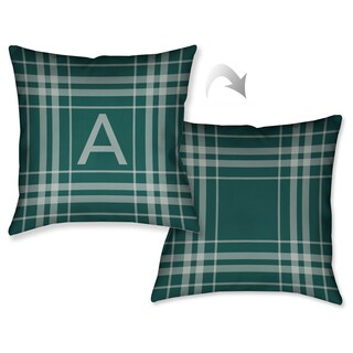 Laural Home Plaid Green Monogram Decorative Throw Pillow (18 inches x 18 inches)