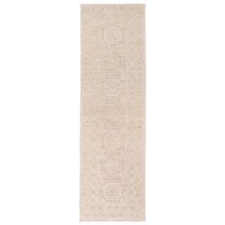 Herat Oriental Afghan Hand-knotted Vegetable Dye Oushak Ivory/ Beige Wool Rug (2'6 x 8'5)