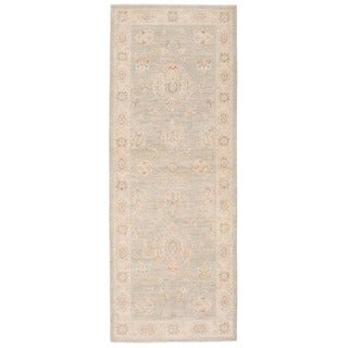 Herat Oriental Afghan Hand-knotted Vegetable Dye Oushak Gray/ Ivory Wool Rug (2'6 x 6'8)