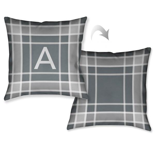 Shop Laural Home Plaid Grey Monogram Decorative Throw Pillow 40 Awesome Monogrammed Decorative Throw Pillows
