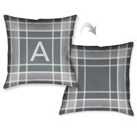 Laural Home Plaid Grey Monogram Decorative Throw Pillow (18 inches x 18 inches)