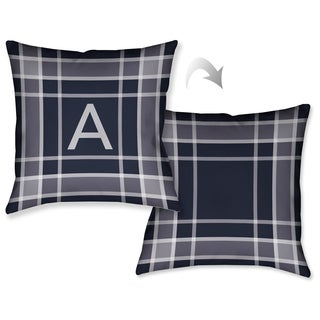 Laural Home Plaid Navy Monogram Reversible Decorative Throw Pillow (18 inches x 18 inches)