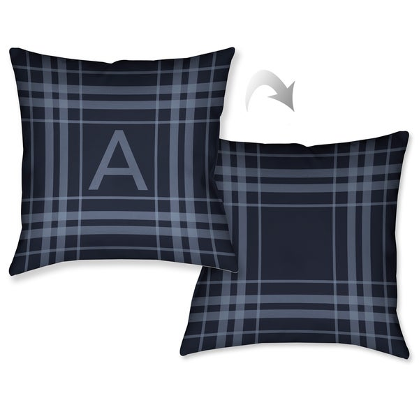 5e0435643ad Shop Laural Home Plaid Navy Blue Monogram Decorative Throw Pillow (18  inches x 18 inches) - Free Shipping Today - Overstock.com - 10992129