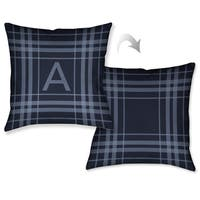 Laural Home Plaid Navy Blue Monogram Decorative Throw Pillow (18 inches x 18 inches)