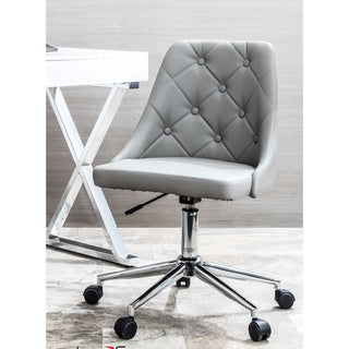 Marche Button-Tufted Office Chair with Faux Leather Upholstery
