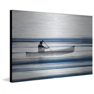 Parvez Taj - Blue Lake Canoe Painting Print on Brushed Aluminum