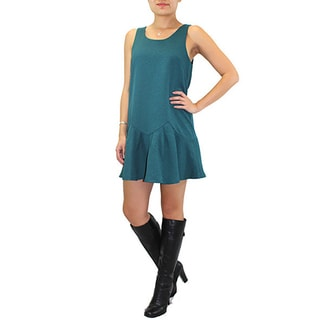 Relished Women's Lush Textured Teal Dropwaist Dress