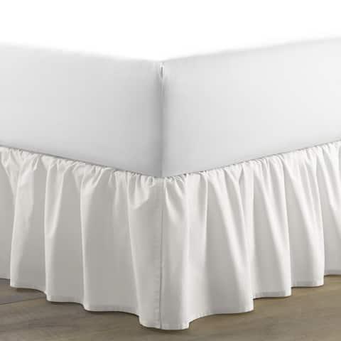 Laura Ashley White Cotton Ruffled 15-inch Drop Bedskirt