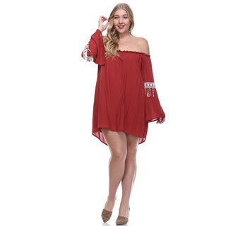 Women's Plus Size Contrast Off Shoulder Above Knee Mini Dress