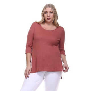 Orange Creek Women's Plus Size Thermal High-Low Knit Top