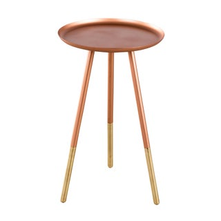 Warm Copper and Brass Ferrule Leg Side Table