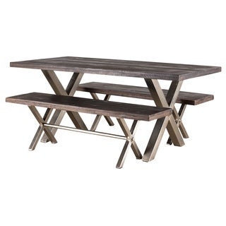 X Base Smoky Teak 3-piece Dining Set (India)