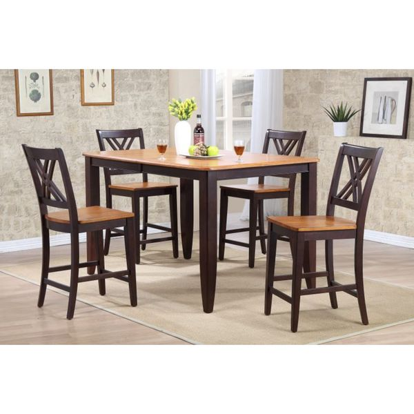 Iconic Furniture 5-piece Whiskey Mocha 36 x 52 x 67-inch Rectangle Double X-Back Counter Set