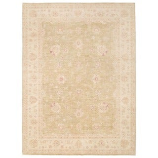 Herat Oriental Afghan Hand-knotted Vegetable Dye Oushak Gold/ Ivory Wool Rug Rug (9'10 x 13'2)