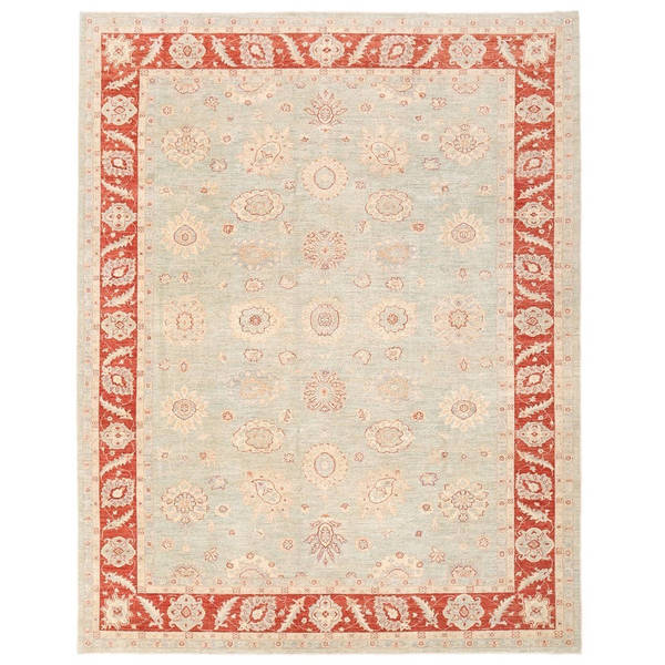 Herat Oriental Afghan Hand-knotted Vegetable Dye Oushak Wool Rug (9'3 x 11'11) - 9'3 x 11'11
