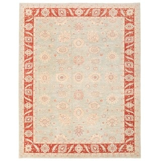 Herat Oriental Afghan Hand-knotted Vegetable Dye Oushak Light Blue/ Red Wool Rug (9'3 x 11'11)
