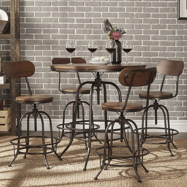 Berwick Industrial Style Round Counter Height Pub Adjustable Dining Set By  INSPIRE Q Classic   Free Shipping Today   Overstock.com   18012876