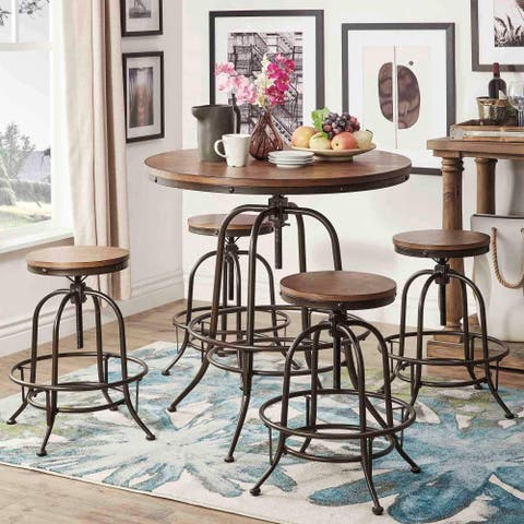 Berwick Industrial Style Round Counter-height Pub Adjustable Dining Set by iNSPIRE Q Classic