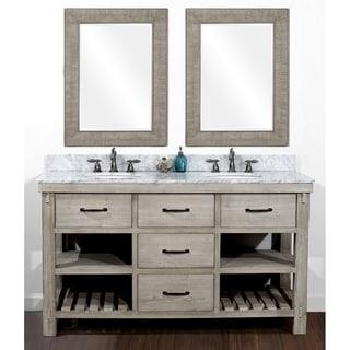 rustic double sink bathroom vanities. Beautiful Rustic Rustic Style 60inch Double Sink Bathroom Vanity And Matching Wall Mirrors Throughout Vanities U