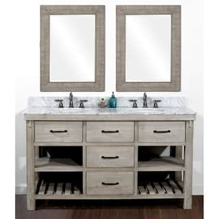 Rustic Style 60 Inch Double Sink Bathroom Vanity And Matching Wall Mirrors