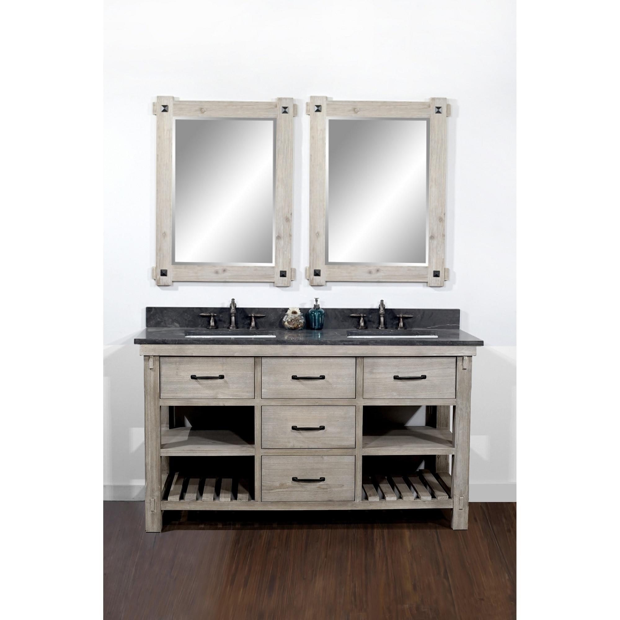 Rustic Style 60-inch Double Sink Bathroom Vanity with Dark ...