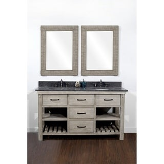 Rustic Style 60-inch Double Sink Bathroom Vanity with Dark Limestone Top