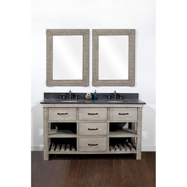 Rustic Style 60-inch Double Sink Bathroom Vanity with Dark Limestone Top