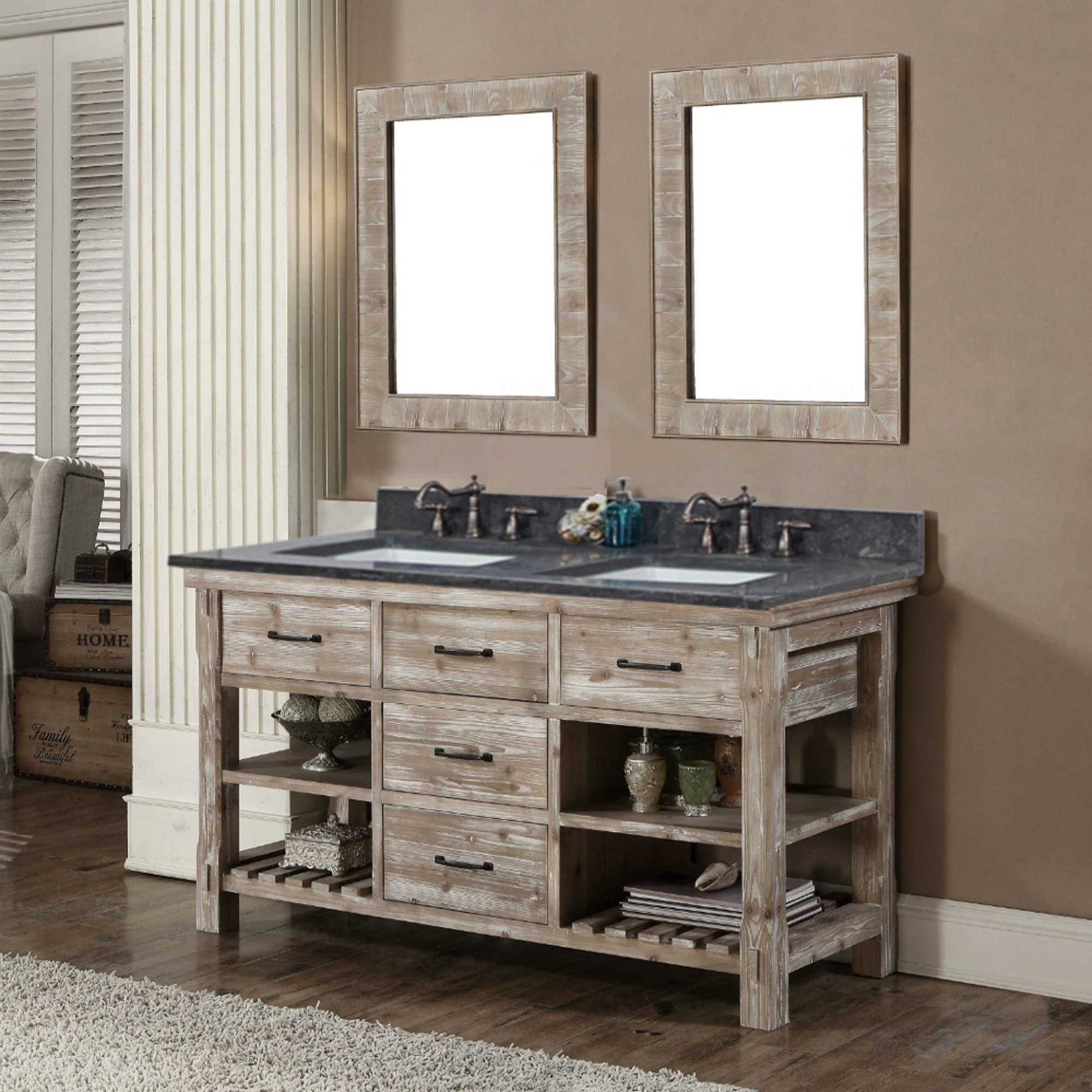 Rustic Style 60 Inch Double Sink Bathroom Vanity With Dark Limestone Top