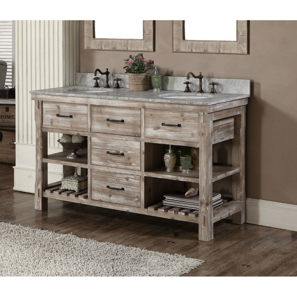 rustic style 60 inch double sink bathroom vanity - Double Sink Bathroom Vanities